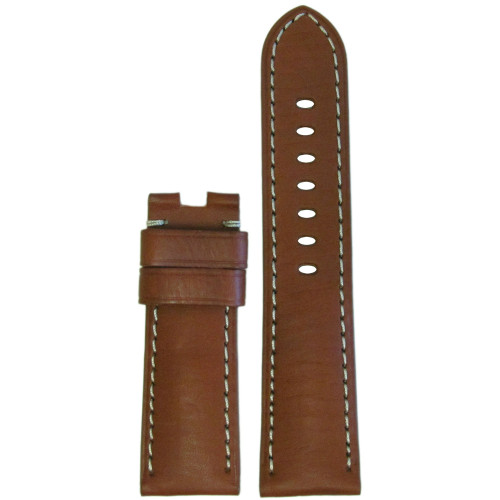 24mm Light Brown Vintage Leather Watch Strap with White Stitching for Panerai Deploy | Panatime.com