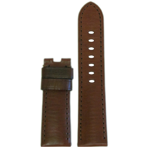 24mm Medium Brown HZ Vintage Leather Watch Strap with Match Stitching for Panerai Deploy | Panatime.com