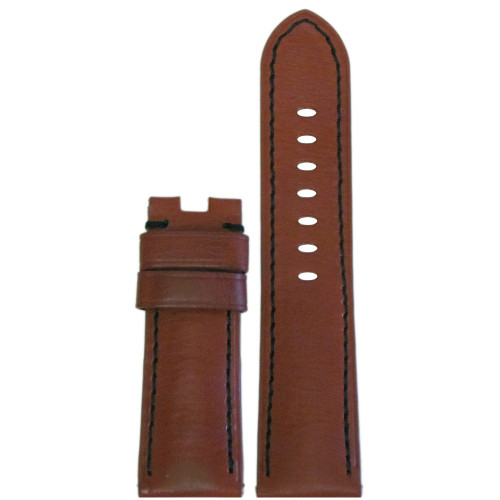 24mm Rou HZ Vintage Leather Watch Strap with Black Stitching for Panerai Deploy | Panatime.com