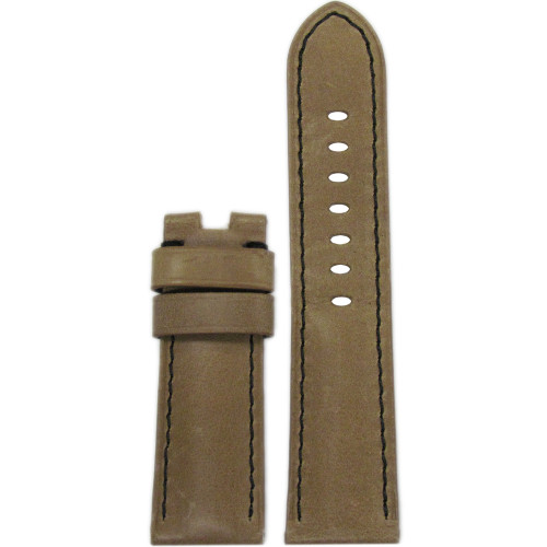 24mm Sand Vintage Leather Watch Strap with Black Stitching for Panerai Deploy | Panatime.com