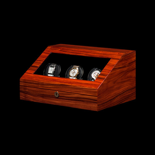 Orbita Teak Siena | 3 Watch Winder | Panatime.com