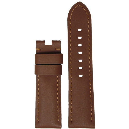 24mm Tan Soft Calf Leather Watch Strap with Match Stitching for Panerai Deploy | Panatime.com