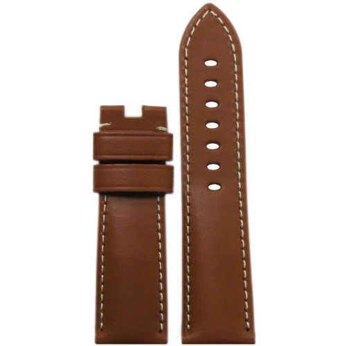 24mm Tan Italian Leather Watch Strap with White Stitching for Panerai Deploy