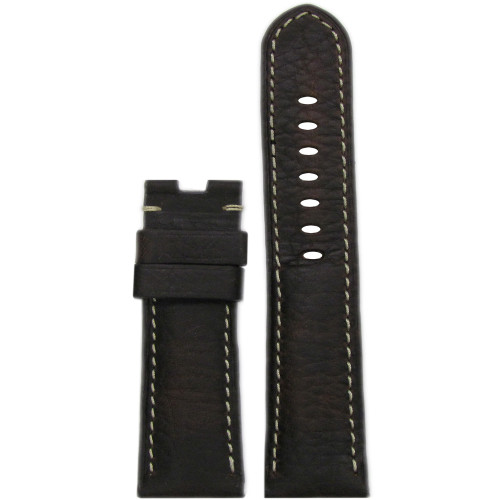 22mm (XL) Dark Brown Deep Oil Vintage Leather Watch Strap with White Stitching for Panerai Deploy | Panatime.com