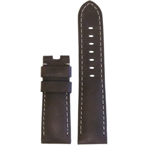 24mm Smooth Brown Distressed Leather Watch Strap with White Stitching for Panerai Deploy | Panatime.com