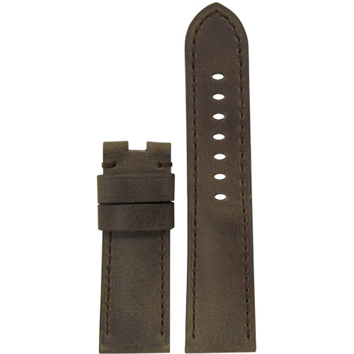 24mm Brown Distressed Vintage Leather Bomber Watch Strap with Match Stitching for Panerai Deploy | Panatime.com