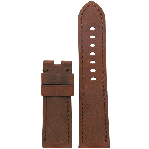 24mm Natural Brown Vintage Leather Watch Strap with Match Stitching for Panerai Deploy | Panatime.com