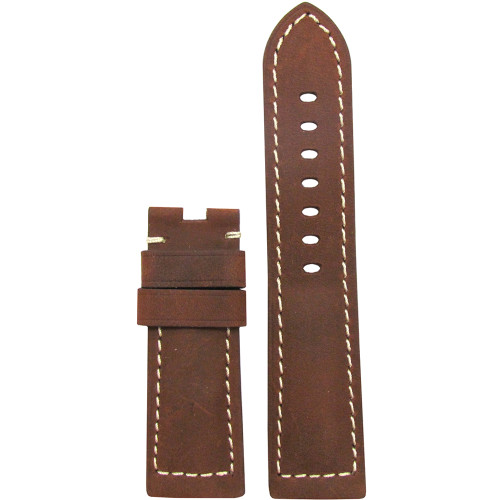 24mm Natural Brown Vintage Leather Watch Strap with White Stitching for Panerai Deploy | Panatime.com