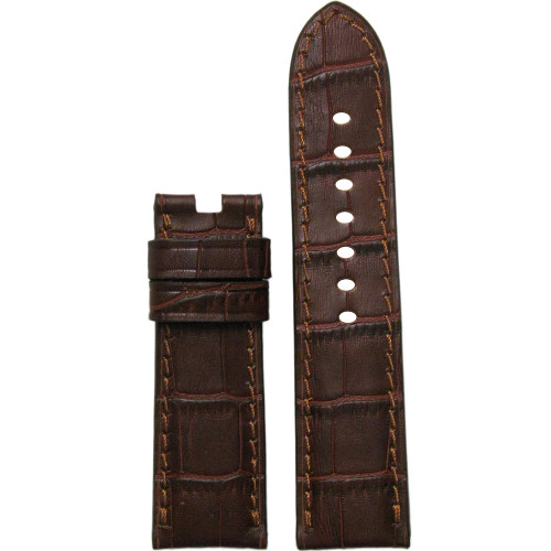 "24mm Mahogany Embossed Leather ""Gator"" Watch Strap with Match Stitching for Panerai Deploy 
