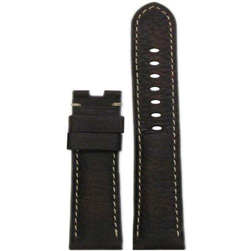 24mm (XL) Dark Brown Deep Oil Vintage Leather Watch Strap with White Stitching for Panerai Deploy | Panatime.com