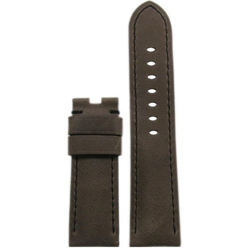 24mm Brown Distressed Vintage Leather Bomber Watch Strap with Black Stitching for Panerai Deploy | Panatime.com