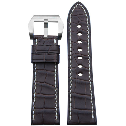 26mm (XL) Dark Brown Matte Alligator Watch Strap with White Stitching for Panerai Radiomir | Panatime.com