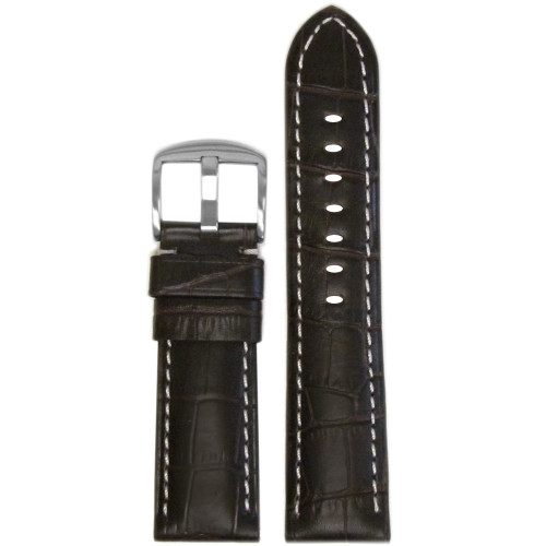 "26mm Choco Embossed Leather ""Gator"" Watch Strap with White Stitching for Panerai Radiomir 
