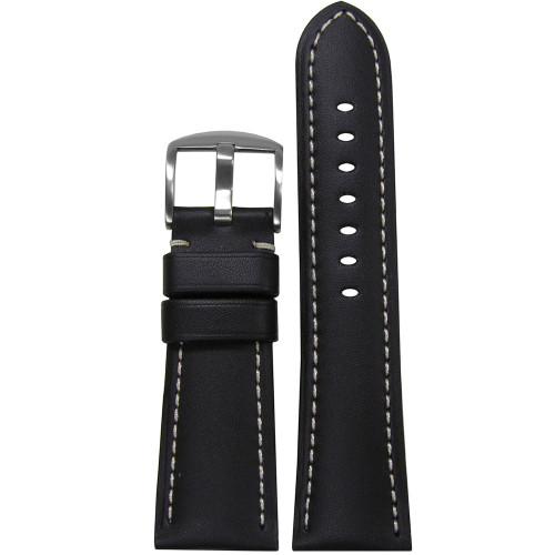 26mm Black Soft Calf Leather Watch Strap with White Stitching for Panerai Radiomir | Panatime.com