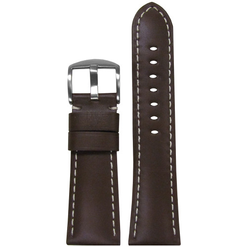26mm Brown Soft Calf Leather Watch Strap with White Stitching for Panerai Radiomir | Panatime.com
