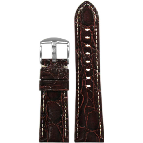 """26mm Burgundy Semi-Gloss Embossed Leather """"Gator"""" Watch Strap with White Stitching for Panerai Radiomir 