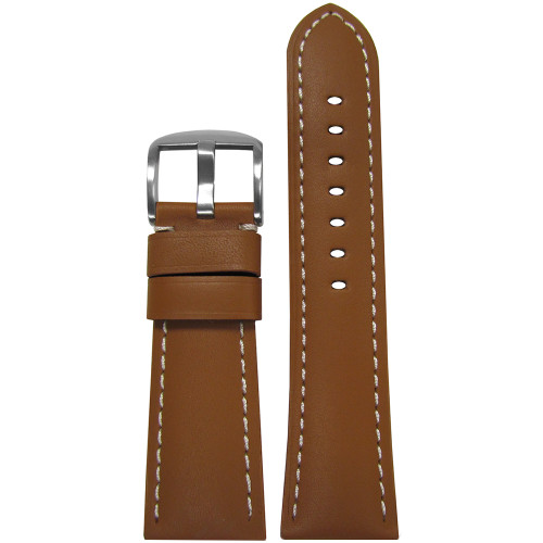 26mm Tan Soft Calf Leather Watch Strap with White Stitching for Panerai Radiomir | Panatime.com