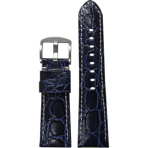 """26mm (XL) Dark Blue Glossy Embossed Leather """"Gator"""" Watch Strap with White Stitching for Panerai Radiomir   Panatime.com"""