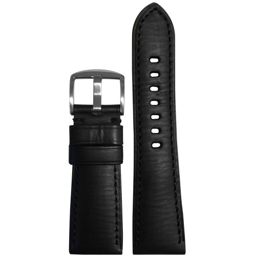 26mm Black HZ Vintage Leather Watch Strap with Match Stitching for Panerai Radiomir | Panatime.com