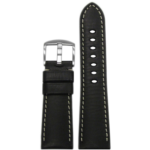 26mm Black HZ Vintage Leather Watch Strap with White Stitching for Panerai Radiomir | Panatime.com