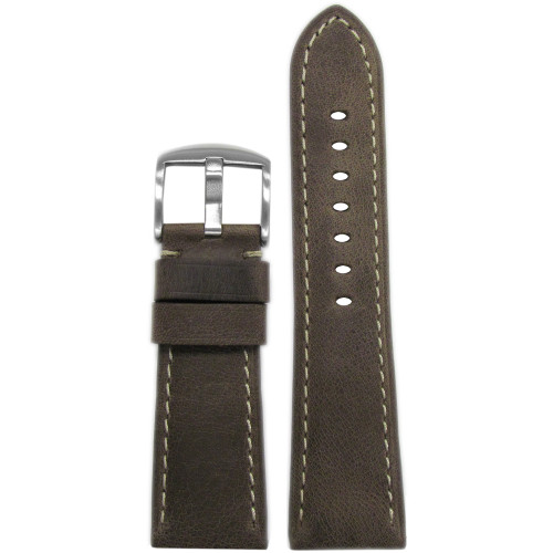 26mm Brown Distressed Vintage Leather Watch Strap with White Stitching for Panerai Radiomir | Panatime.com