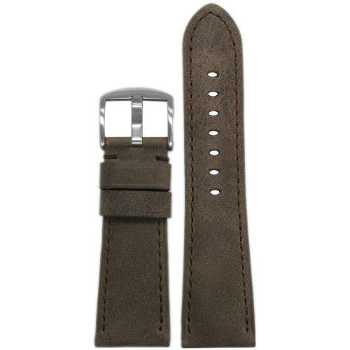 26mm Brown Distressed Vintage Leather Watch Strap with Match Stitching for Panerai Radiomir | Panatime.com
