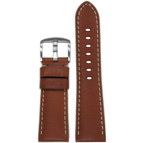 26mm Rou HZ Vintage Leather Watch Strap with White Stitching for Panerai Radiomir | Panatime.com