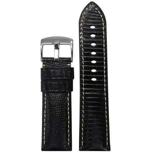 26mm (XL) Black Lizard Watch Strap with White Stitching for Panerai Radiomir | Panatime.com
