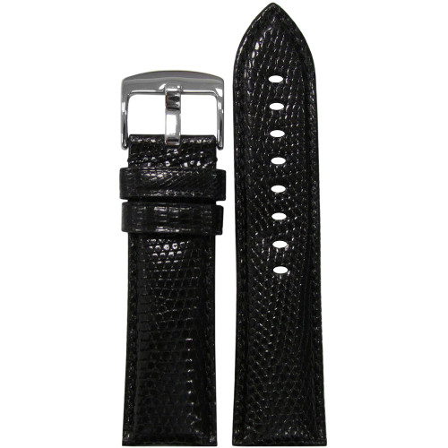 26mm (XL) Black Lizard Watch Strap with Match Stitching for Panerai Radiomir | Panatime.com