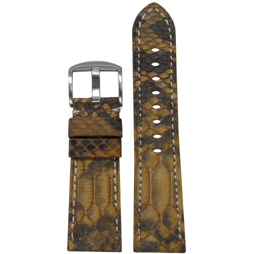26mm (XL) Gold Java Rock Python Watch Strap with Match Stitching for Panerai Radiomir | Panatime.com