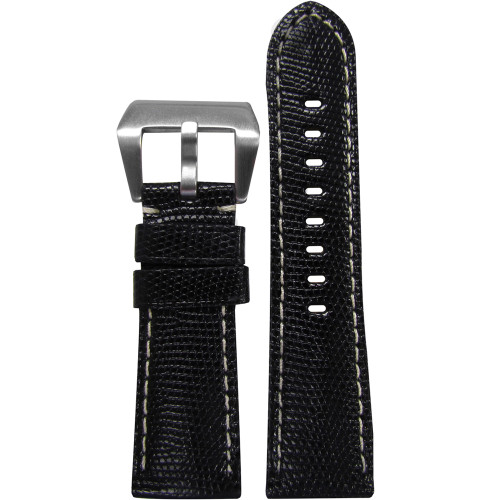 26mm Black Java Lizard Watch Strap with White Stitching for Panerai Radiomir | Panatime.com