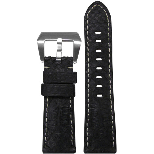 26mm (XL) Black Python Watch Strap with White Stitching for Panerai Radiomir | Panatime.com