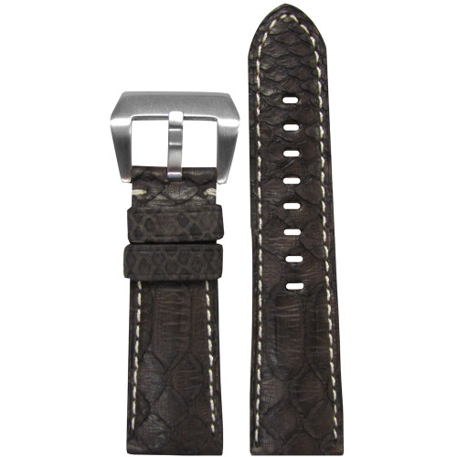 26mm (XL) Brown Python Watch Strap with White Stitching for Panerai Radiomir | Panatime.com
