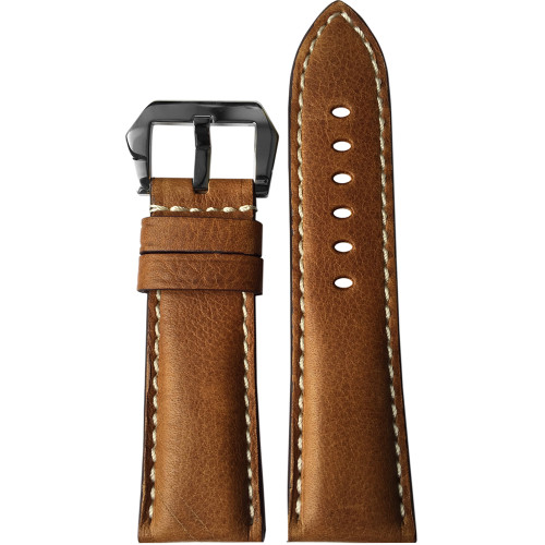 26mm Classic Brown Vintage Leather Watch Strap with White Stitching for Panerai Radiomir | Panatime.com