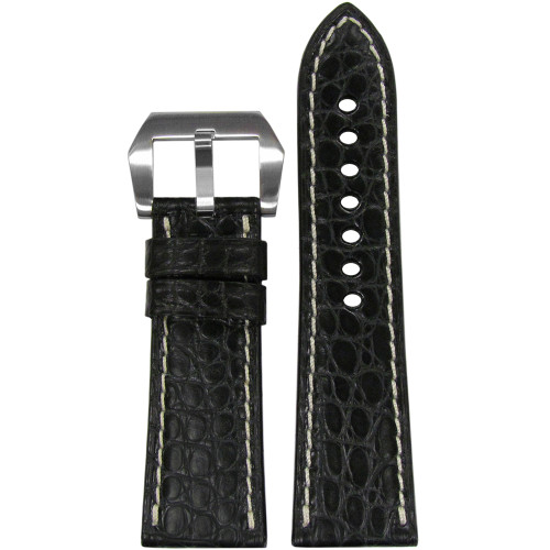 26mm Black Matte Genuine Alligator Watch Strap with White Stitching for Panerai Radiomir | Panatime.com
