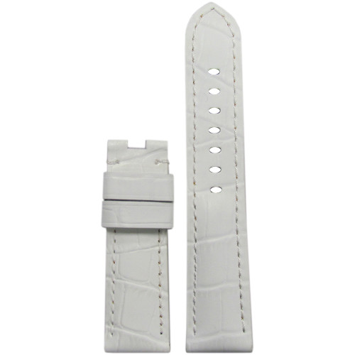 "22mm White Embossed Leather ""Gator"" Watch Strap with Match Stitching for Panerai Deploy 