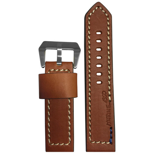 """24mm Brown Vintage Leather """"Marine 1950"""" Watch Strap with White Stitching 