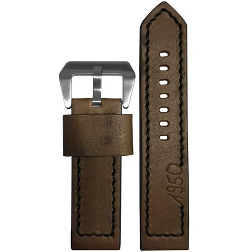 "24mm (XL) Dark Brown Vintage Leather ""Marine 1950"" Watch Strap with Black Stitching   Panatime.com"