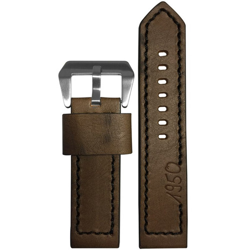 "24mm (XL) Dark Brown Vintage Leather ""Marine 1950"" Watch Strap with Black Stitching | Panatime.com"