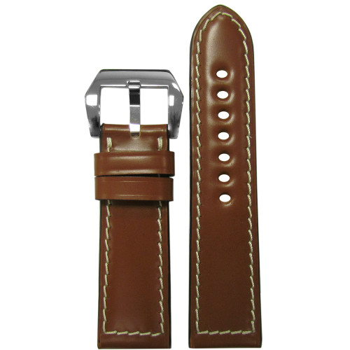 24mm Cognac Padded Shell Cordovan Leather Watch Strap with White Stitching | Panatime.com