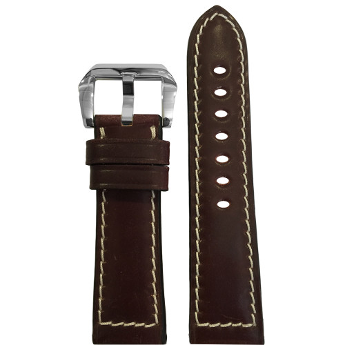 24mm Dark Burgundy Padded Shell Cordovan Leather Watch Strap with White Stitching | Panatime.com