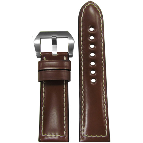 24mm Light Brown Padded Shell Cordovan Leather Watch Strap with White Stitching | Panatime.com