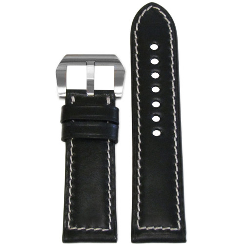 24mm Black Padded Shell Cordovan Leather Watch Strap with White Stitching | Panatime.com