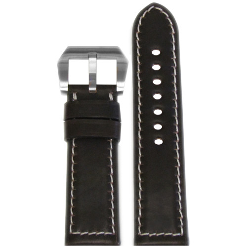24mm Mocha Padded Shell Cordovan Leather Watch Strap with White Stitching | Panatime.com