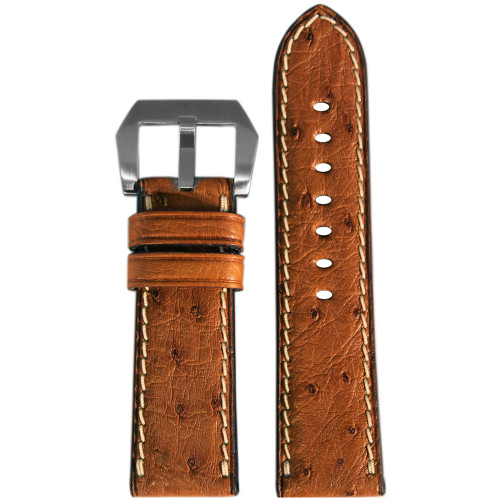 "24mm Natural ""Le Jardin"" Ostrich Watch Strap with White Stitching 