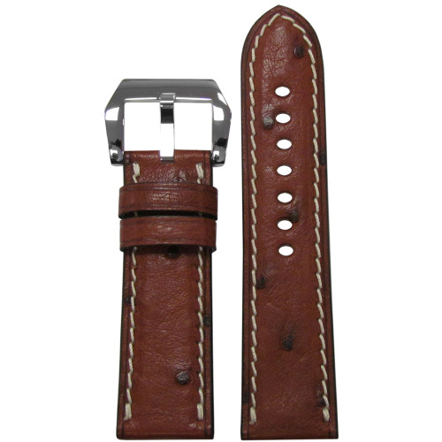 """24mm Mahogany """"Le Jardin"""" Ostrich Watch Strap with White Stitching 
