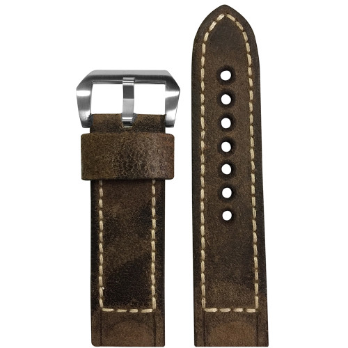 22mm Brown Raw Vintage Leather Watch Strap with White Classic Box Stitching for Panerai | Panatime.com