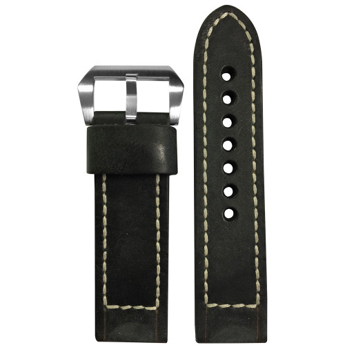 22mm Smooth Black Distressed Vintage Leather Watch Strap with White Classic Box Stitching for Panerai | Panatime.com