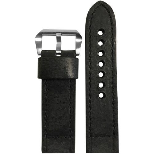 22mm (XL) Black Vintage Leather Watch Strap with Black Classic Box Stitching for Panerai | Panatime.com