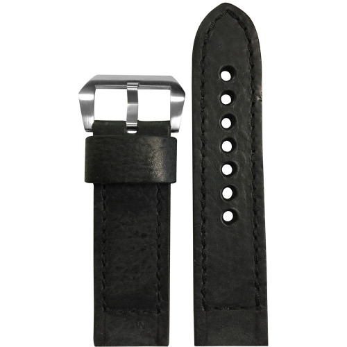 24mm Black Vintage Leather Watch Strap with Black Classic Box Stitching for Panerai | Panatime.com